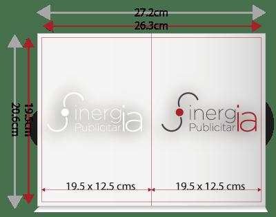 tamaño y área de protección dipticos carta