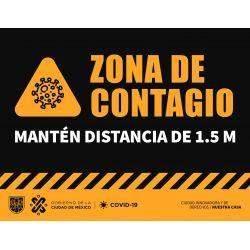 señalética zona de contagio