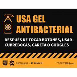 señalética usa gel antibacterial