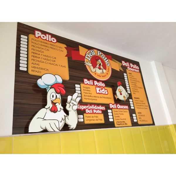 menu en coroplast
